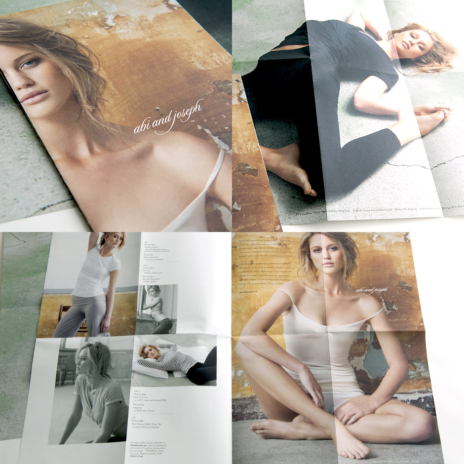 A fold out brochure/poster to promote pilates and travel wear