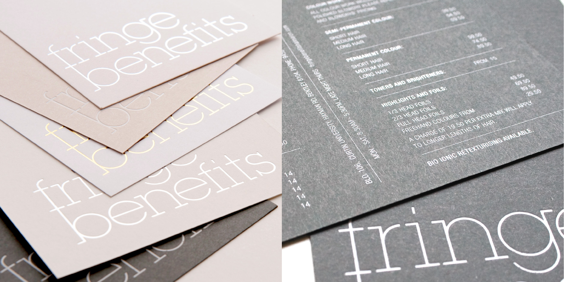 A minimal and attractive suite of printed communications for Fringe Benefits hair salon