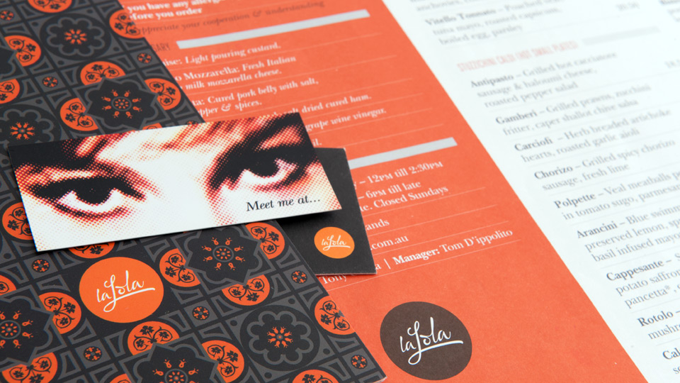 Drinks, food menus and business card design for La Lola Trattoria