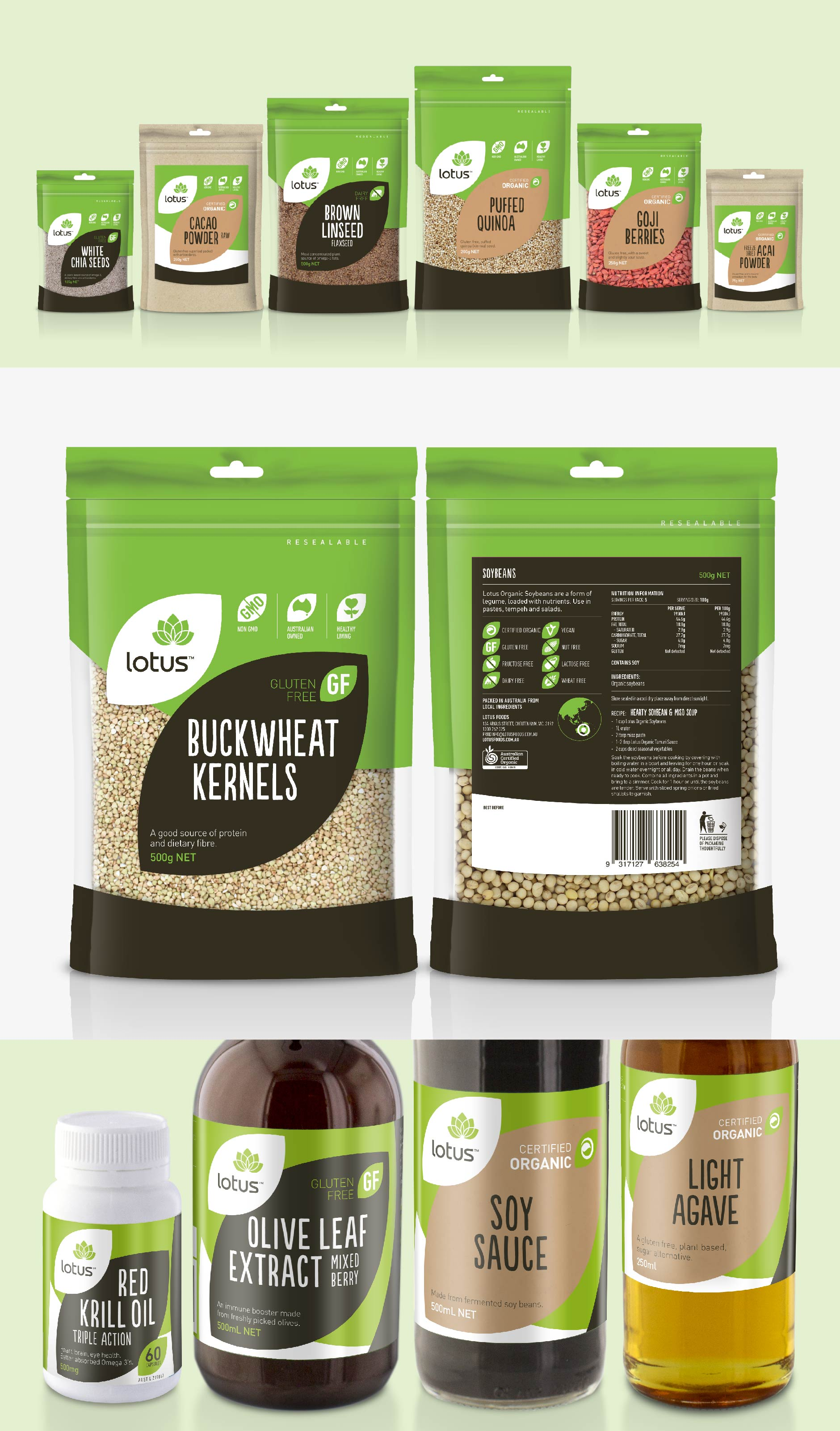 Packaging design for 230+ health food products for Lotus Foods (completed whilst at Chimera)