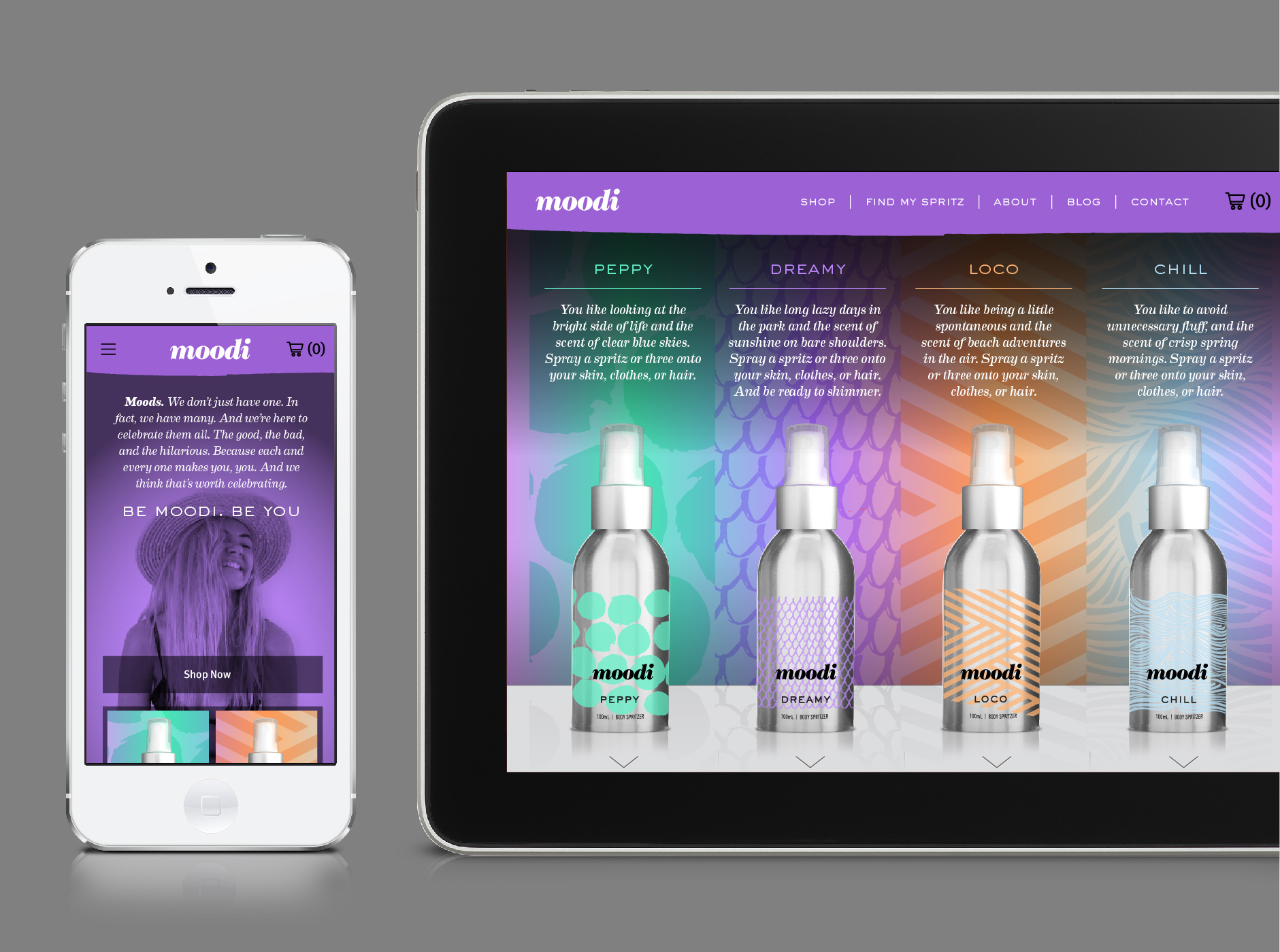 Identity, packaging and digital concepts for Moodi body spritzers (completed whilst at Chimera)
