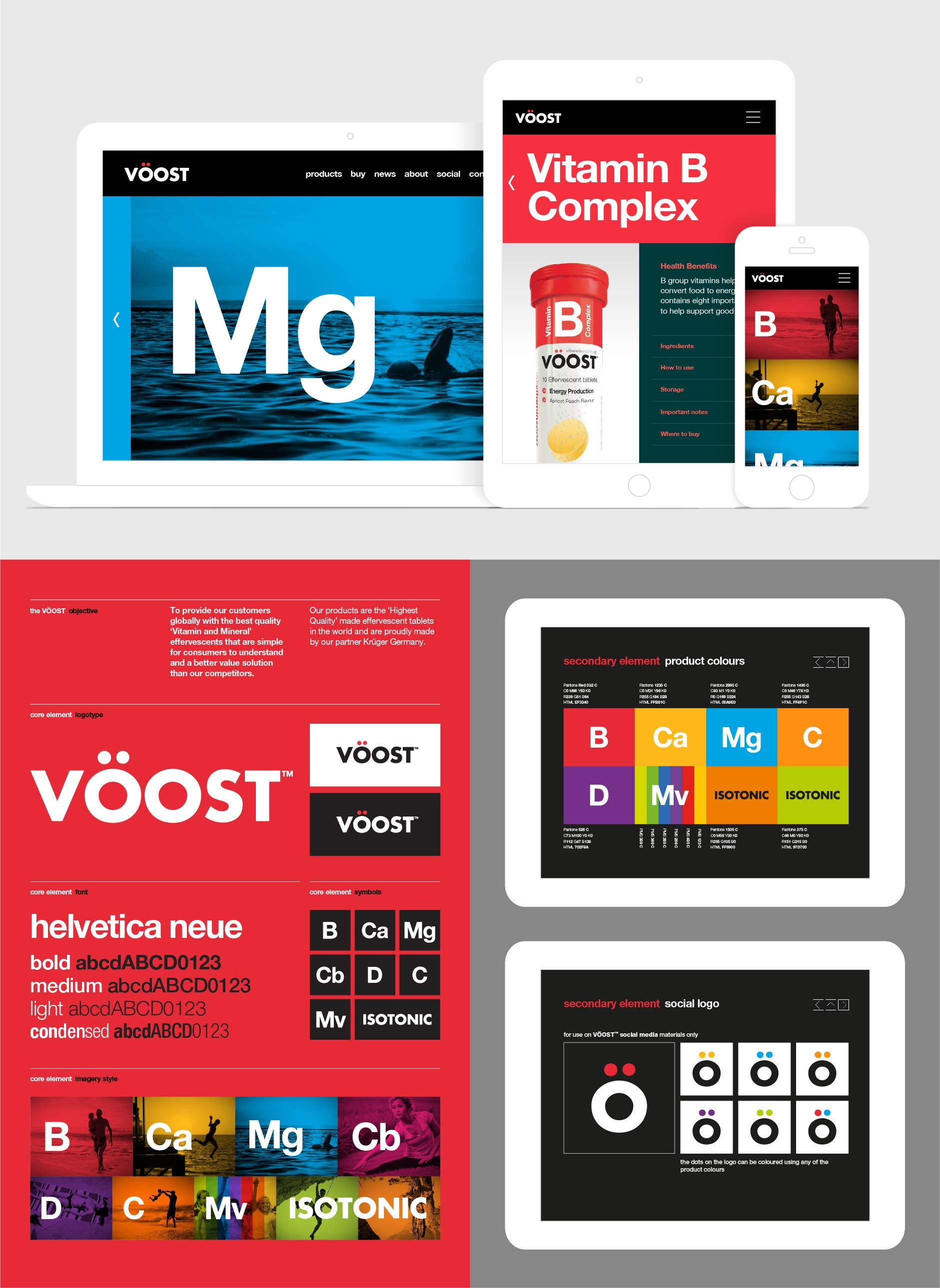 Web concept and interactive style guide for effervescent vitamins and minerals brand VÖOST (completed whilst at Chimera)
