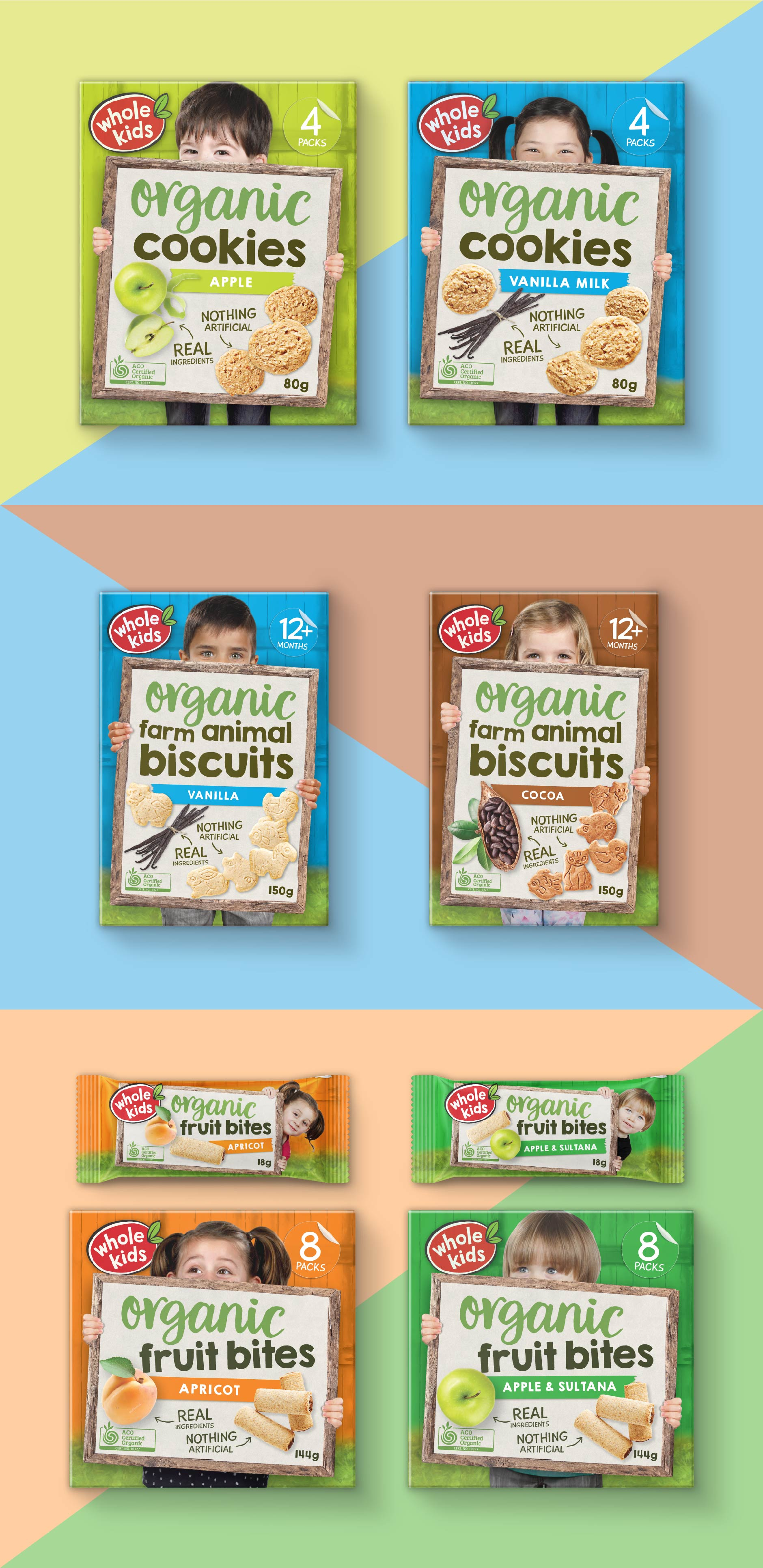 Packaging design for a range of organic and healthy kids snacks (completed whilst at Chimera)